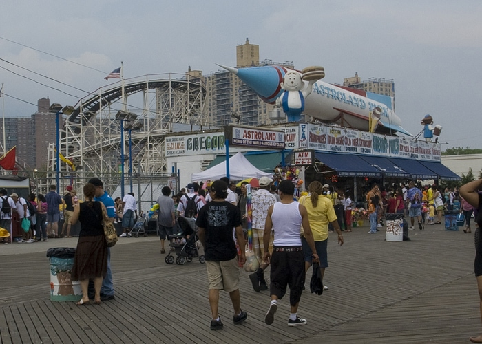 Astroland with an A&W Happy Family at Coney Island in New York.