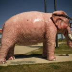 Pink Elephant in Glasses - a roadside attraction in DeForest, Wisconsin